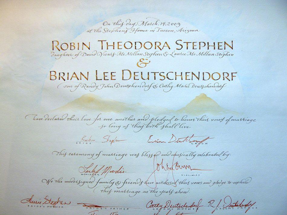 Robin & Brian Wedding Certificate