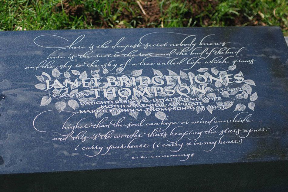 Headstone design, drawing and lettering