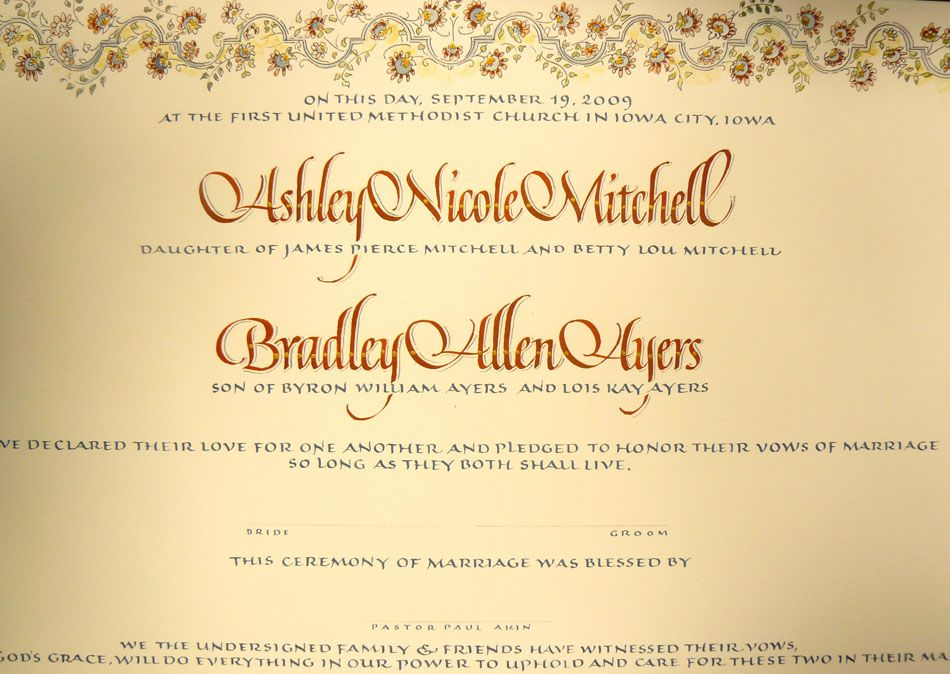 Wedding certificate (detail)