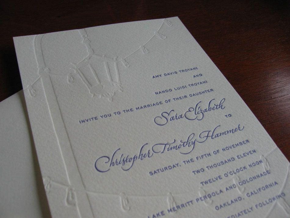 Calligraphy for letterpress printed wedding invitation