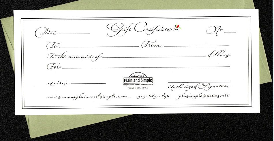 Gift certificate design and lettering