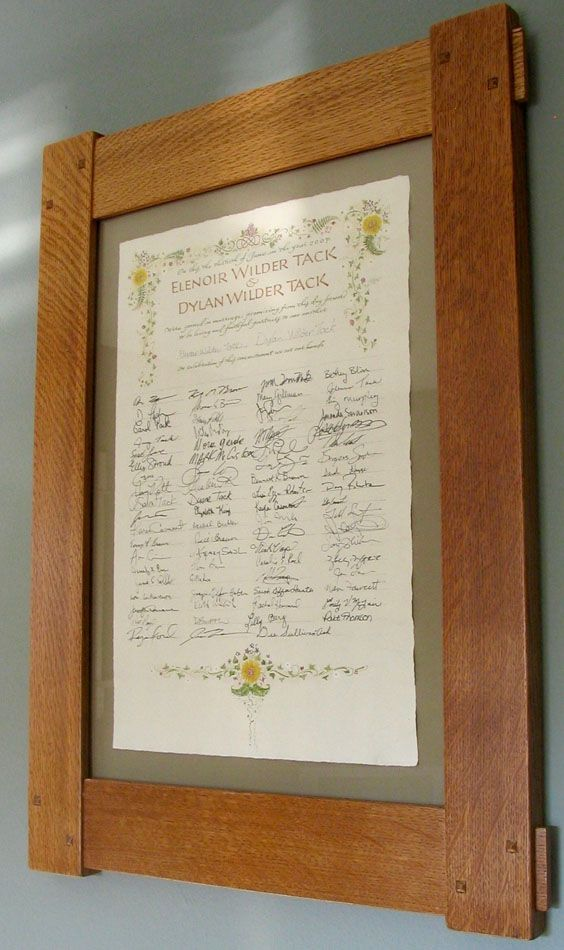 Wedding certificate signed and framed